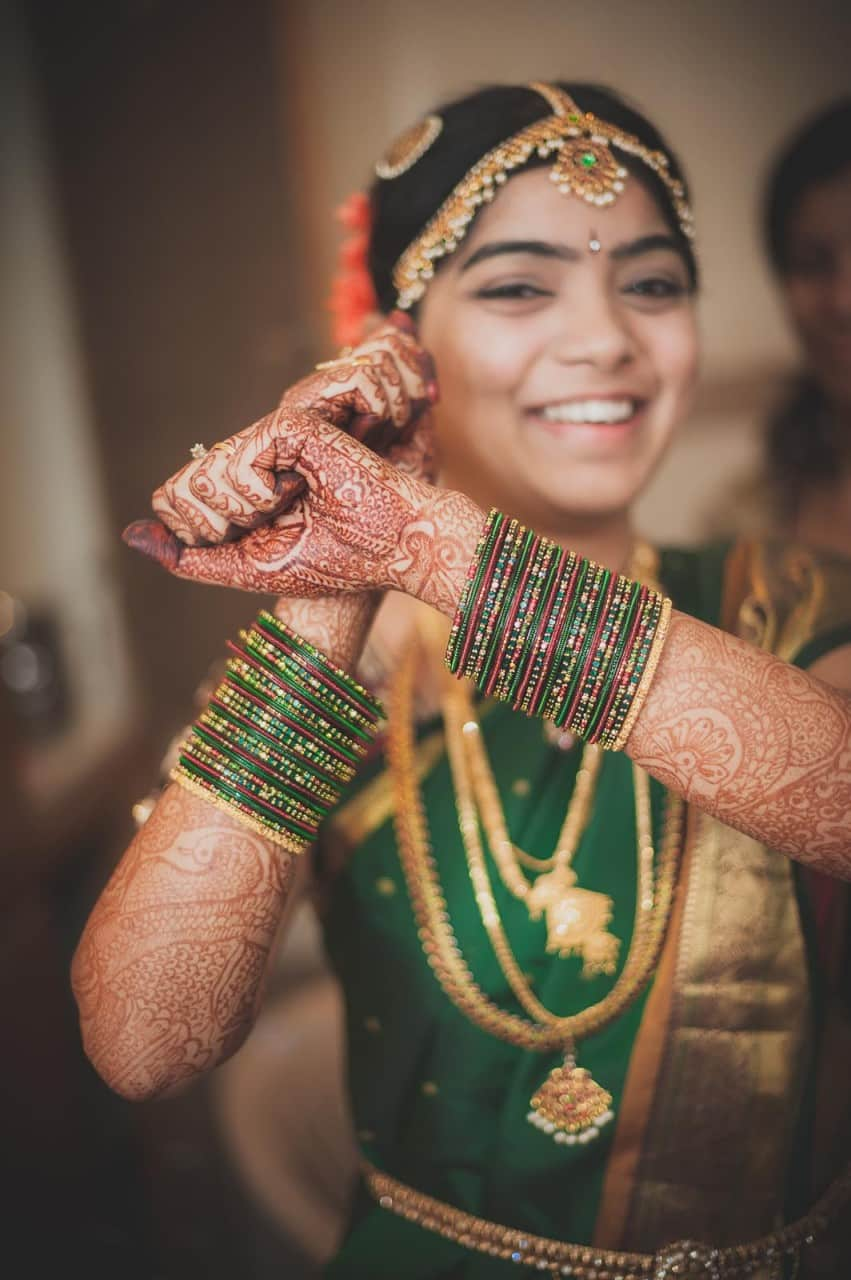 Best Wedding Photographer India | Bride Green Bangles Portrait Photography South India
