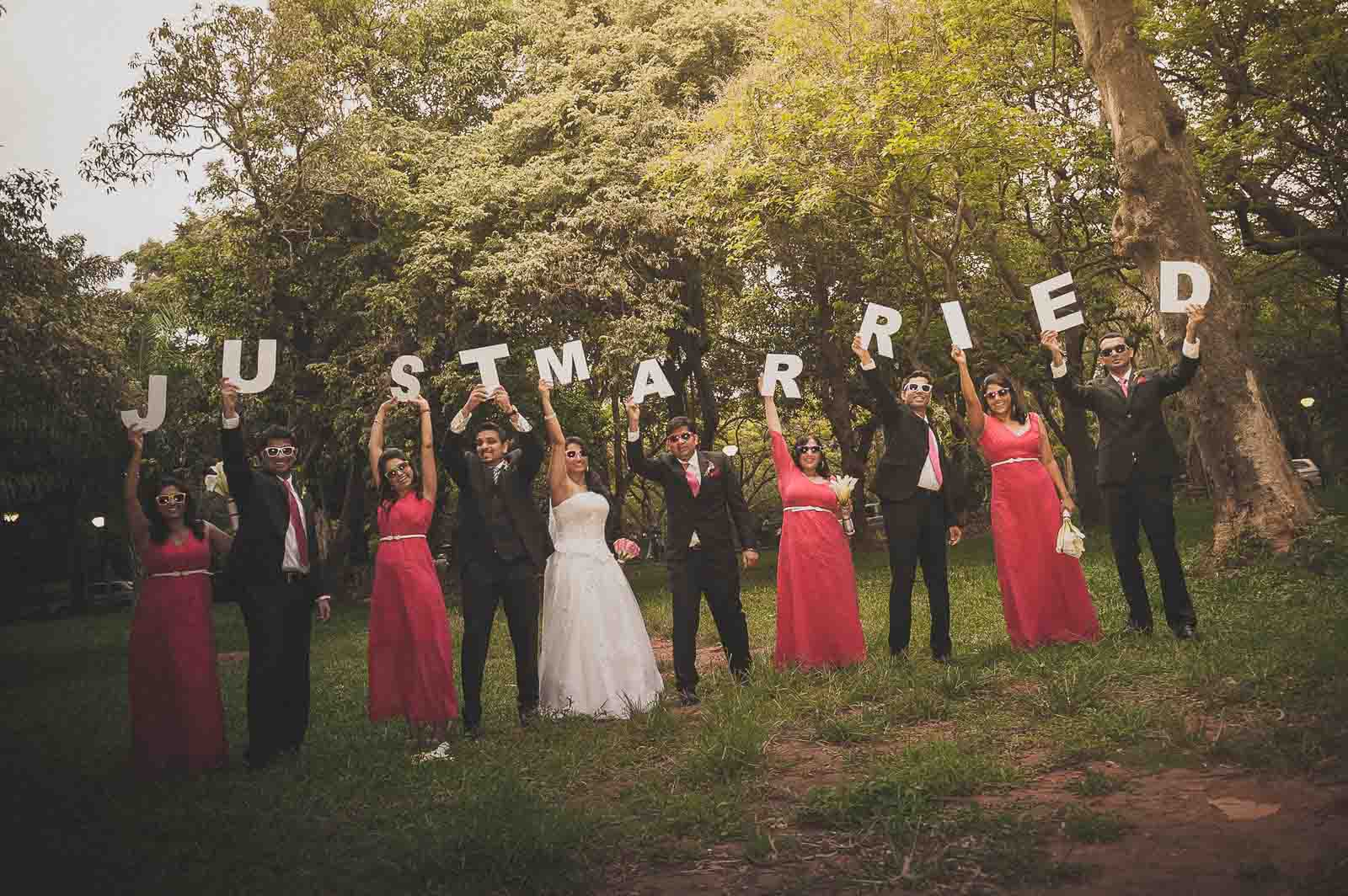 Best Wedding Photographer Thailand | Group Photography with Just Married Sign