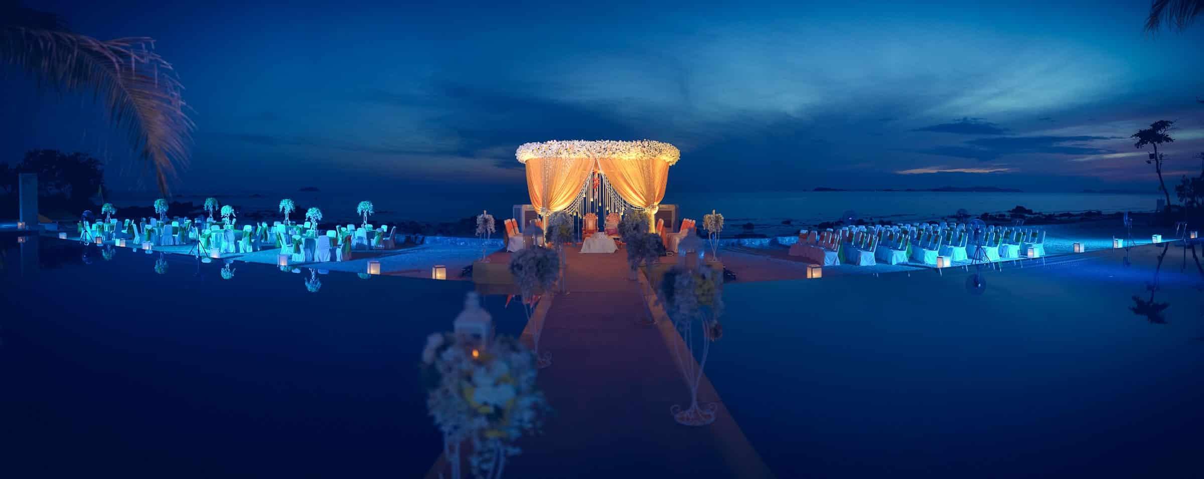 Best Destination Wedding Photographer Rayong Mariott   Indian Venue Decor Panorama Photography Thailand