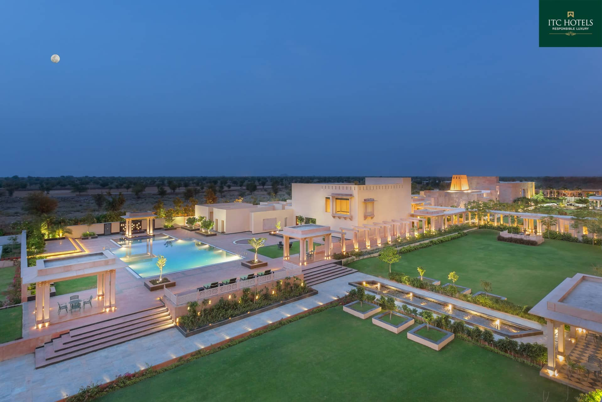Best Architecture Photographer Jodhpur India | ITC Hotel Welcome Facade Sunset Photography India