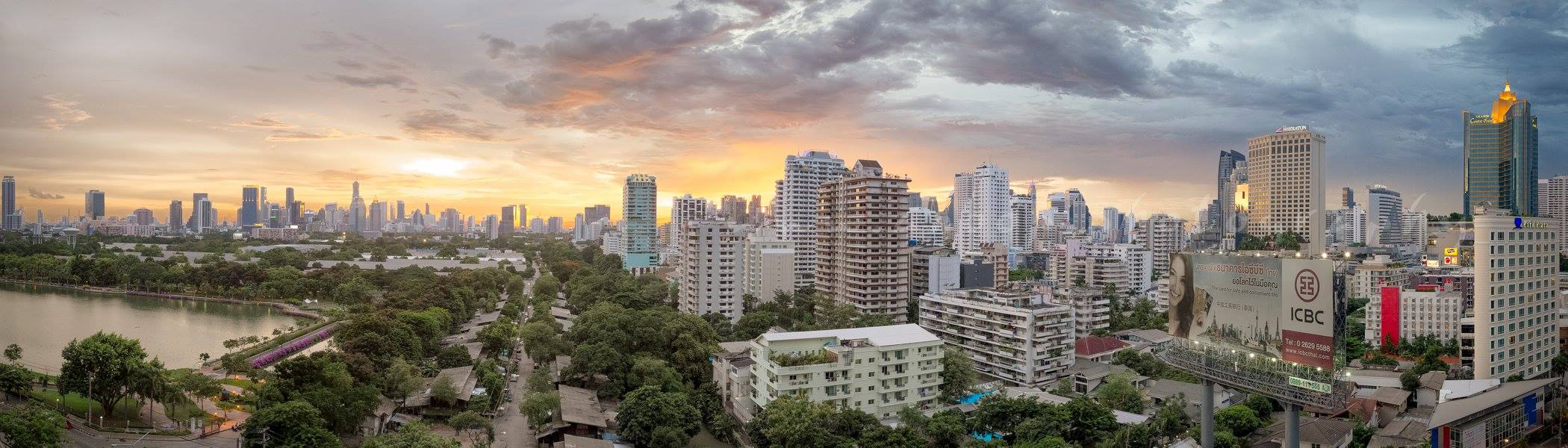 landscape sunset photo of the skyline bangkok thailand
