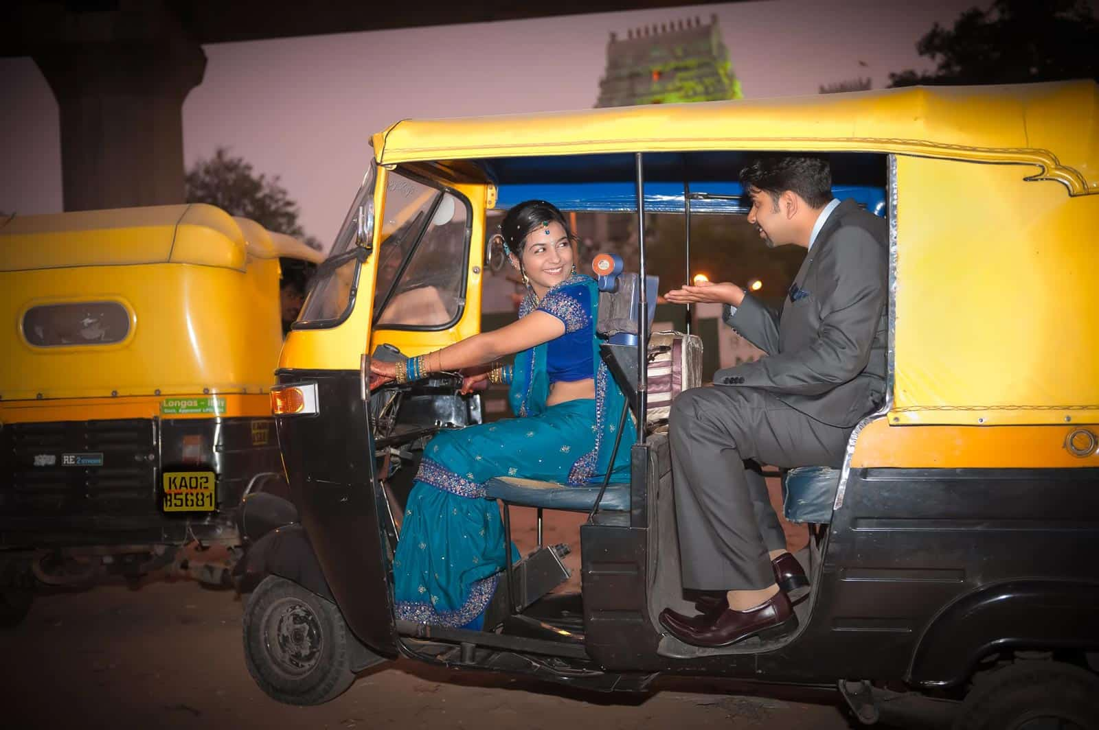 Best Wedding Photographer India | Couple in Autorickshaw Photograph Bangalore India