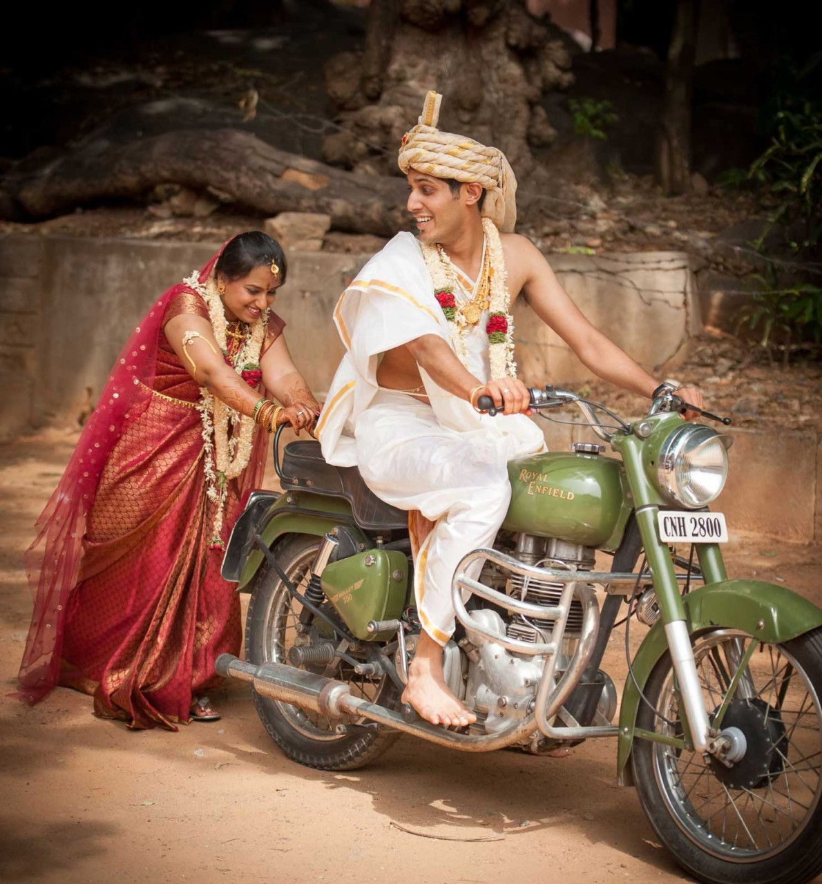 Best Wedding Photographer Bangalore | Royal Enfield Bullet Couple Wedding Photography