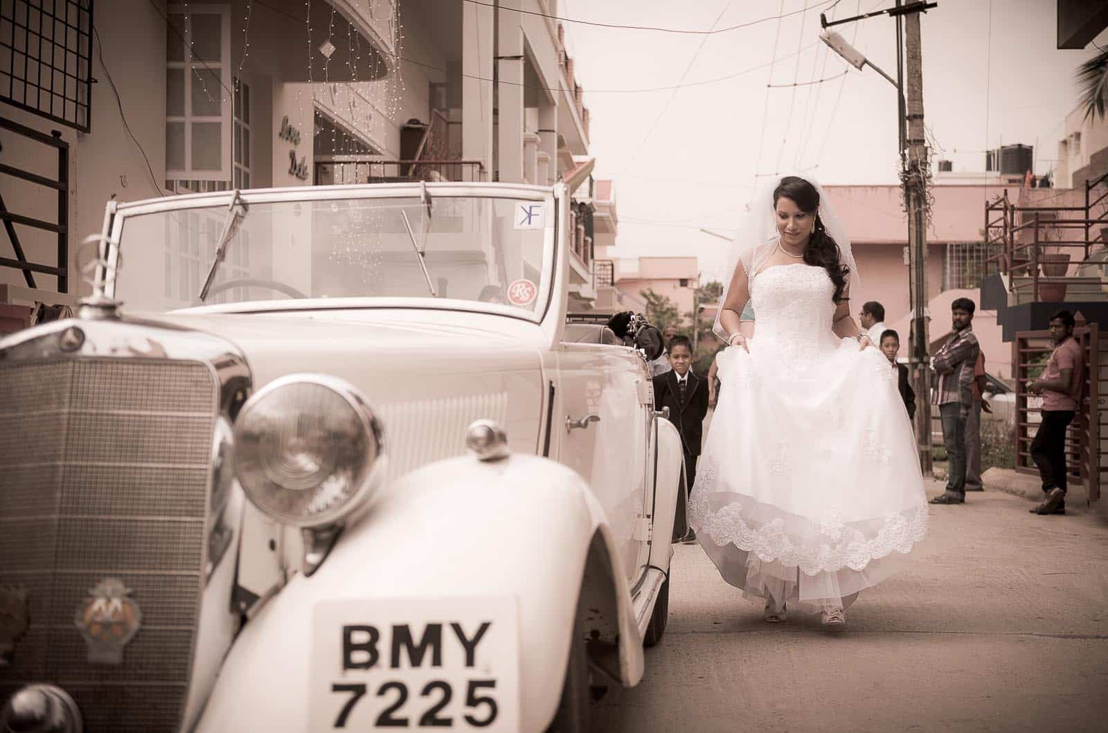 best-wedding-photography-st-patricks-church-bangalore-vintage-car-bride